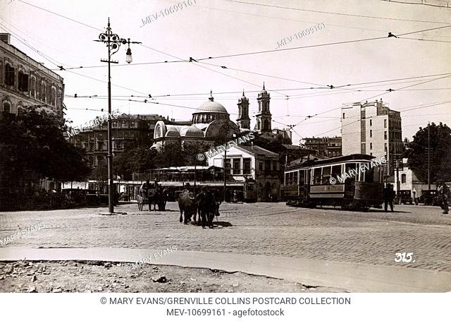 Istanbul, Turkey - Taksim Square - Tram, Ox Cart and Church of the Holy Trinity