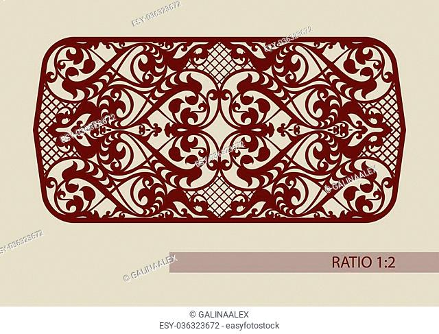 Floral ornament. Vintage style. The template pattern for decorative panel. A picture suitable for printing, engraving, laser cutting paper, wood, metal