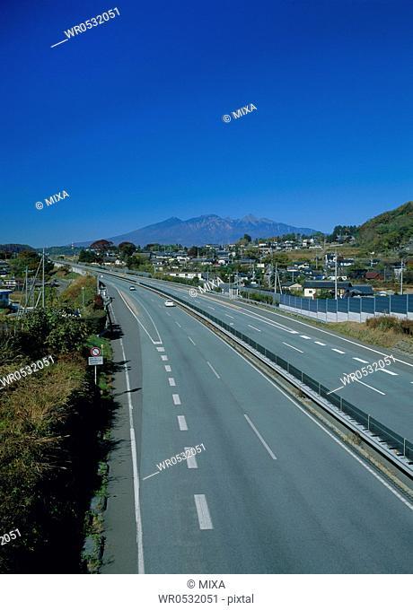 Chuo Expressway and Yatsugatake Mountains, Hokuto, Yamanashi, Japan