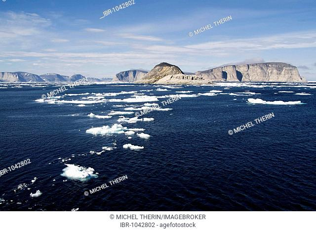 Floating ice, Cape Mercy, Cumberland Sound, Baffin Island, Nunavut, Canada, North America