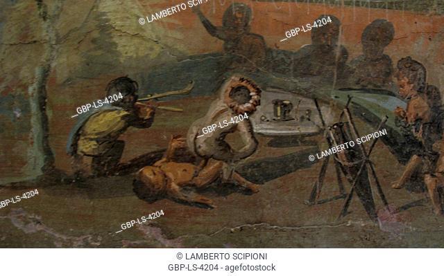 Erotic art in Pompeii, fresco Pompeii, 2008, Rome, Italy
