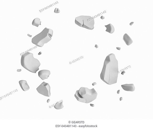 3d rendering of grey pieces of plaster wall hanging in the air on white background. Construction and demolition. Failure and destruction