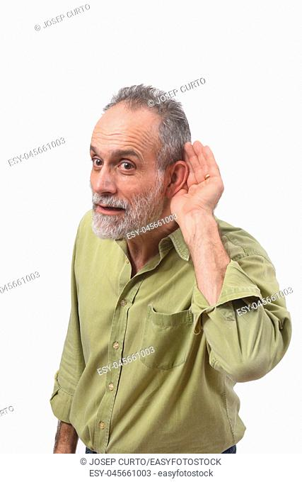 man putting a hand on her ear because she can not hear on white background