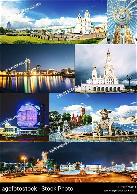 Minsk, Belarus. Set Collage With Many Local Famous Landmarks In Belarusian Capital. Red Church, National Library, Holy Spirit Cathedral etc