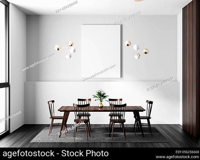 Mock up poster frame in modern dining room. Scandinavian style dining room. 3D illustration