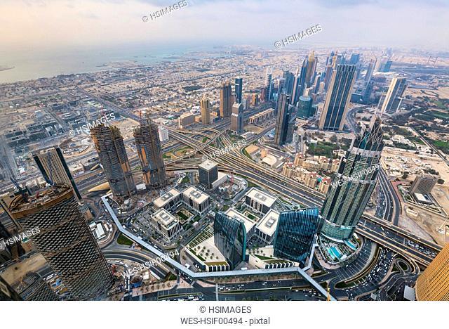 United Arab Emirates, Dubai, cityscape with Sheikh Zayed Road