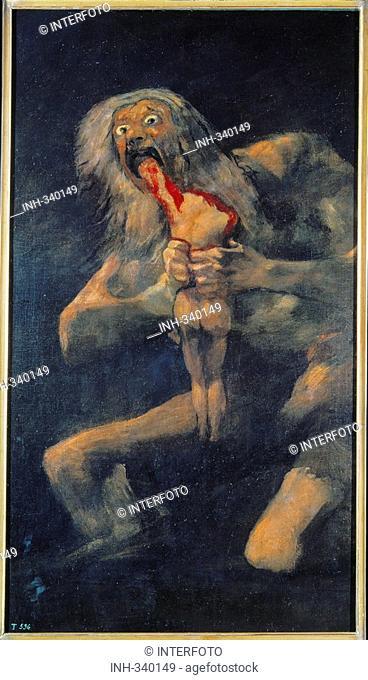fine arts, Goya y Lucientes, Francisco de, 1746 - 1828, painting, Saturno devorando a su hijo, Saturn devouring one of his children, 1819 - 1823