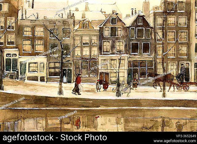 Breitner George Hendrik - a View of the Lauriergracht Amsterdam in Winter - Dutch School - 19th Century