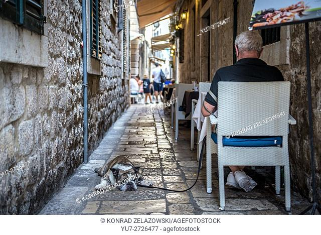 narrow alleyway on the Old Town of Dubrovnik city, Croatia