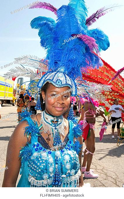 Young girl in costume for the Caribana Festival Parade, Toronto, Ontario