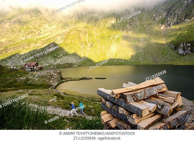 lake Balea near mountain road in Romania