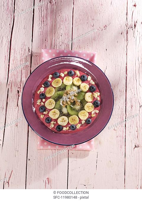 Raspberry, dragon fruit and banana smoothie bowl