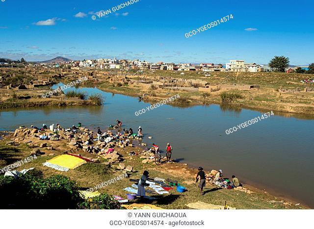 The river Ikopa, brick factories, Antananarivo, Madagascar