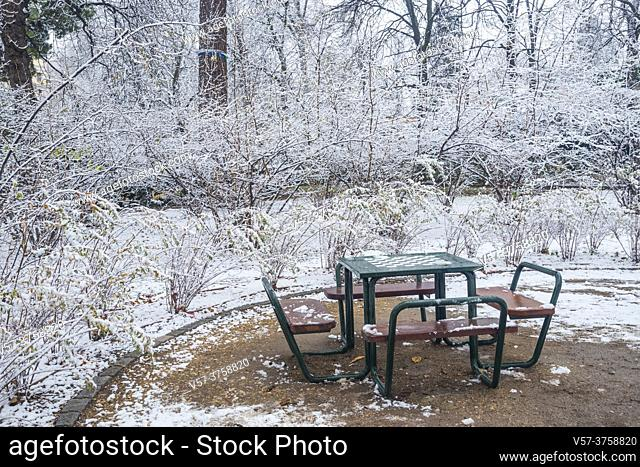 Chess table in a snow covered Retiro park. Madrid, Spain