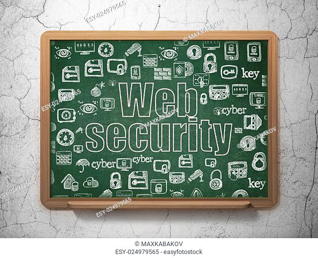 Privacy concept: Chalk Pink text Web Security on School Board background with Hand Drawn Security Icons, 3d render