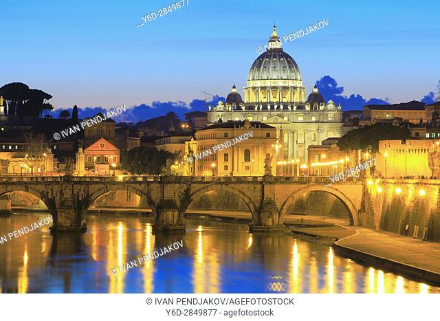 St Peter's Basilica and the Tiber at Dusk, Rome, Italy
