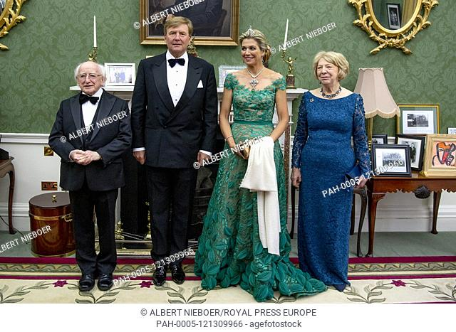 King Willem-Alexander and Queen Maxima of The Netherlands, president Micheal D. Higgins and his wife Sabina Higgin at Aras an Uachtarain