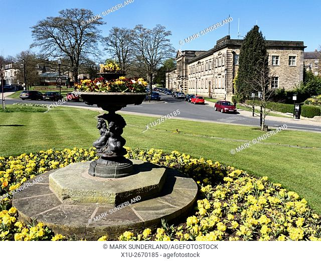 Crescent Gardens and Harrogate Borough Council Building in Spring Harrogate North Yorkshire England