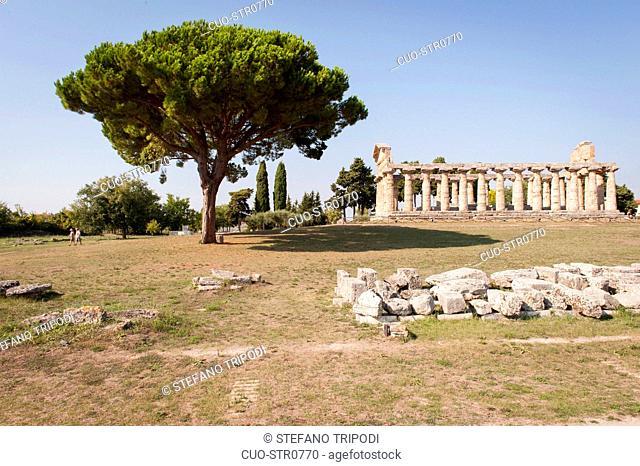 Temple of Athena, Paestum archeological area, UNESCO, World Heritage Site, province of Salerno, Campania, Italy, Europe
