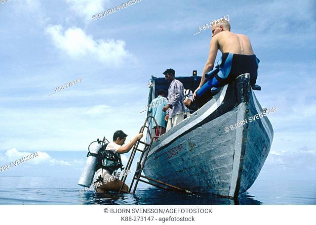 Diving dhoni (maldivian boat). North Male Atoll. Maldives