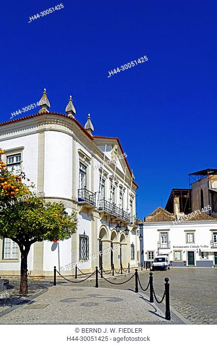 City hall, orange tree, Faro Portugal
