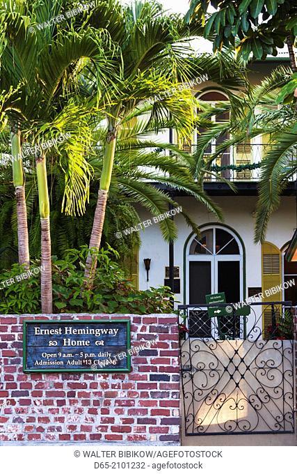 USA, Florida, Florida Keys, Key West, Hemingway House, former residence of famous American writer, exterior