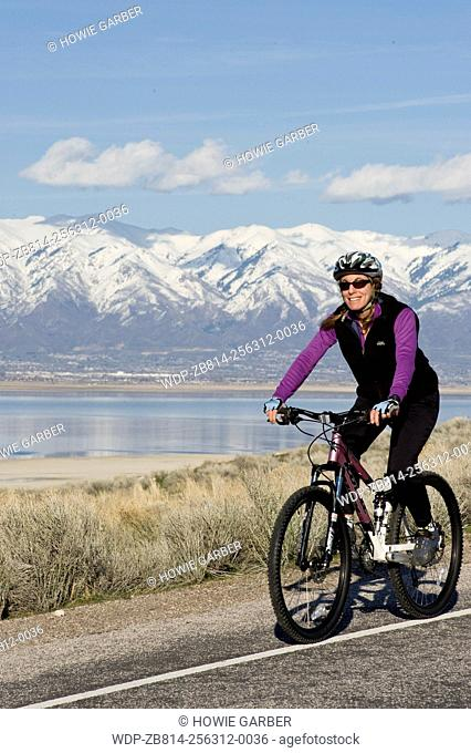 Amy mountain biking on Antelope Island, Antelope Island State Park near Syracuse and Salt Lake City, Utah, model released