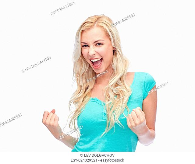 emotions, expressions, success and people concept - happy young woman or teenage girl celebrating victory