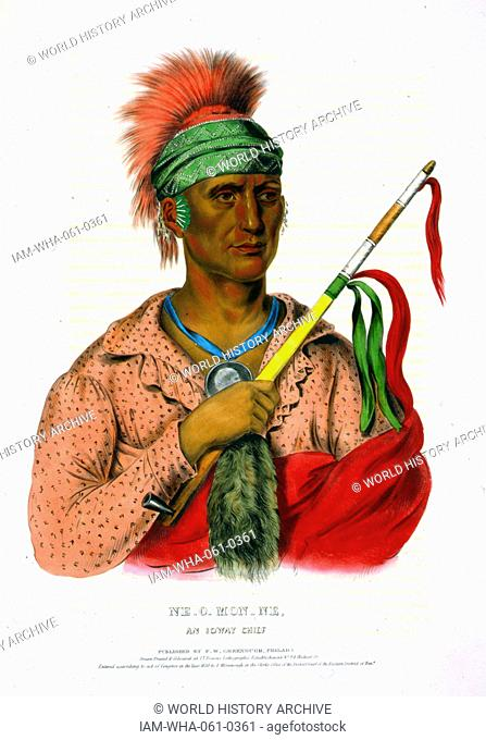 Ne-O-Mon-Ne, an Ioway chief wearing a portrait medallion around his neck, and holding a calumet (peace pipe). The Ioway (Iowa) are a Native American Siouan...