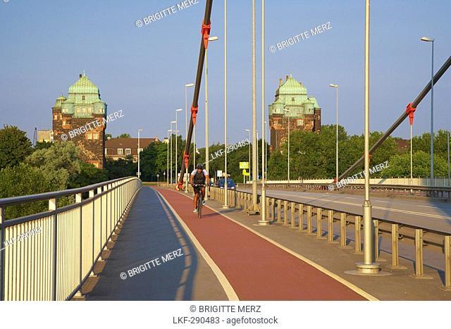 Friedrich-Ebert-Bruecke across the river Rhine at Duisburg-Ruhrort, Industrial Heritage, Ruhrgebiet, North Rhine-Westphalia, Germany, Europe