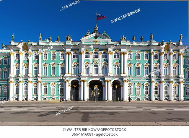 Russia, Saint Petersburg, Center, Dvotsovaya Square, Winter Palace and Hermitage Museum