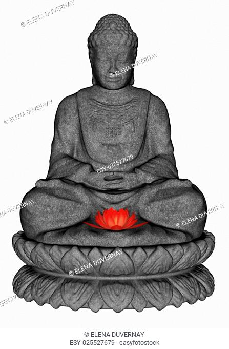 Stone buddha meditating and small lotus flower isolated in white background - 3D render