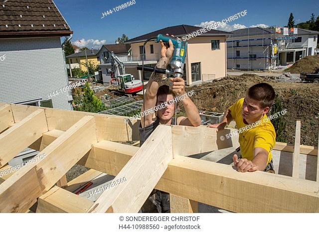 carpenters with timber-frame construction