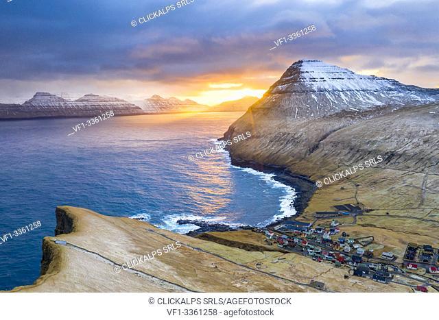 Aerial view from Gjogv (Eysturoy island, Faroe Islands, Denmark)