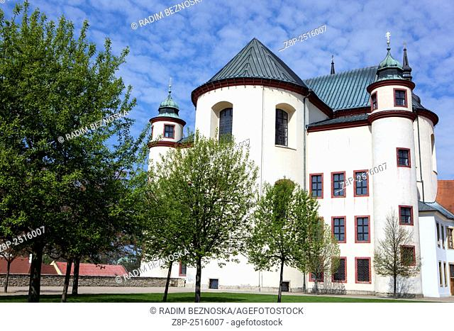 Monastery Gardens Piaristic Cloister Church of Discovery of the Holy Cross in Litomysl Czech Republic, UNESCO town
