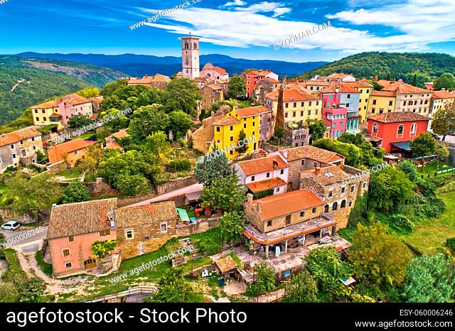 Oprtalj. Idyllic hill village of Oprtalj in green landscape aerial view. Istria region of Croatia
