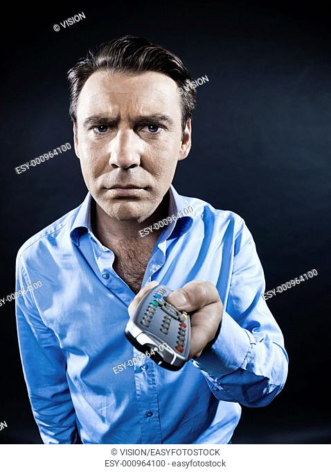 caucasian man portrait remote control fail isolated studio on black background