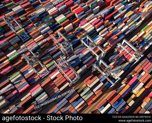 Shipping Containers Fill Port on East Coast