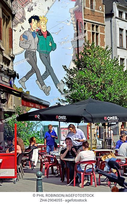 """Brussels, Belgium. Mural on the Comic Book Route: """"""""Brousaille"""""""" (1999, Frank Pe) Rue du Marché au Charbon / Rue des Teinturiers (Kolenmarkt / Verversstraat)..."""