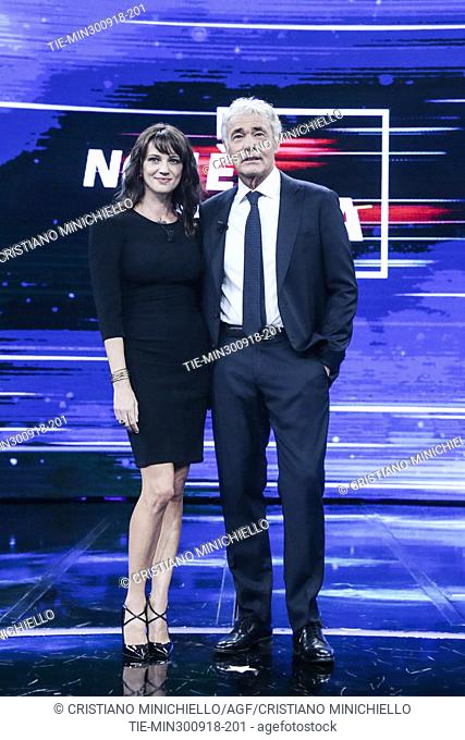 Italian actress and director Asia Argento and the tv conductor Massimo Giletti, during the the tv show Non e' l'Arena in Rome, ITALY-30-09-2018