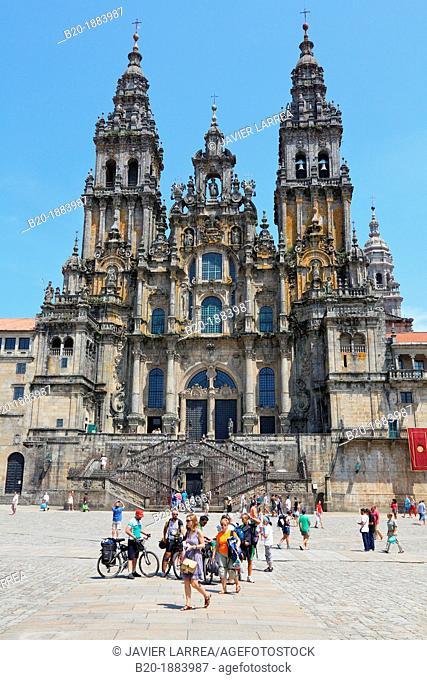 Catedral, Praza do Obradoiro, Santiago de Compostela, A Coruña province, Galicia, Spain