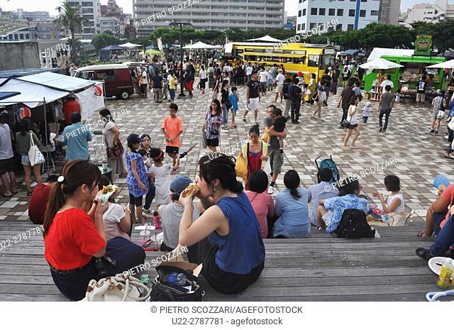 Naha, Okinawa, Japan: people at the Food Flea Market in Tomarin
