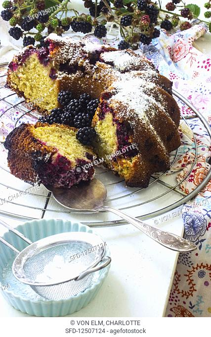 Blackberry cake with icing sugar