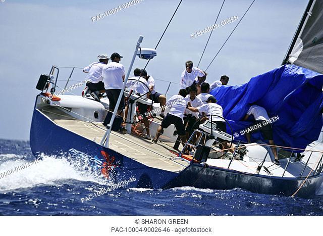 Hawaii, Oahu, Waikiki Offshore Series 2005, sailboat on blue ocean