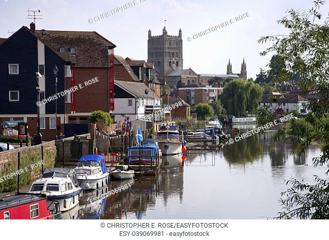 Boats moored on the Avon Navigation near Tewkesbury town centre, Gloucestershire, UK