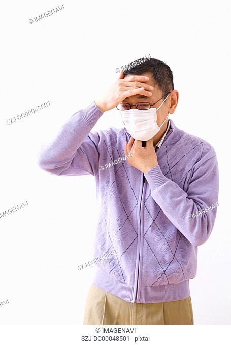 Senior man wearing a mask