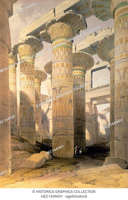 Hall of Columns, Karnak, Egypt, 19th century. From Egypt and Nubia, Vol 1, by David Roberts