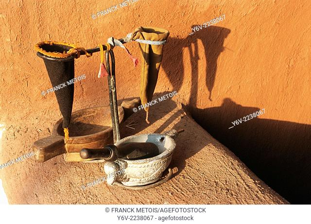 Objects used to filter opium in the traditional opium ceremony. Marwar region in Rajasthan, India