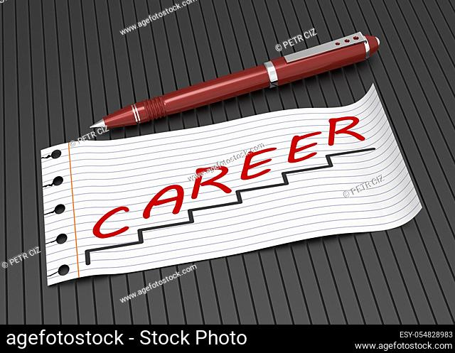 Lined paper with word career