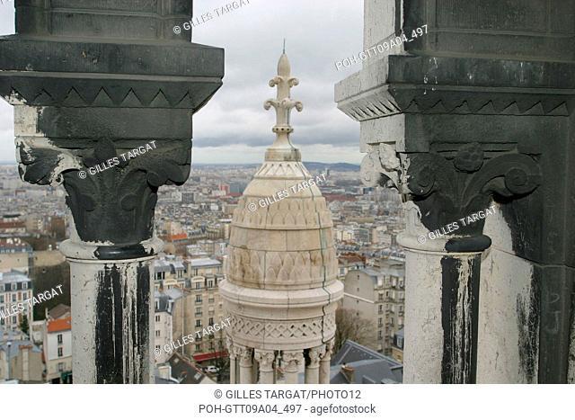 tourism, France, paris 18th arrondissement, butte montmartre, basilique du sacre coeur, basilica, panorama from the gallery around the dome Photo Gilles Targat